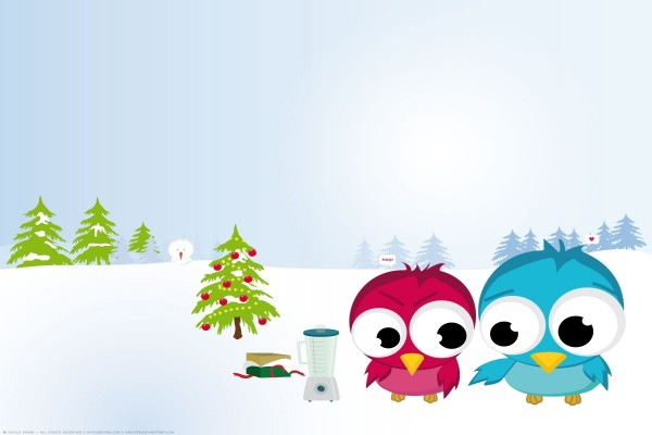 Pareja de pajaritos festejando la Navidad