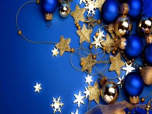 Postal azul para Navidad