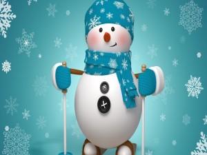 Postal: Muñeco de nieve esquiando