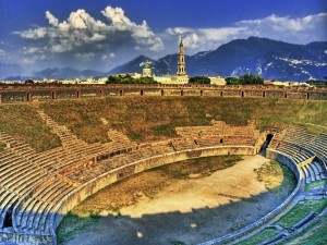 Anfiteatro de Pompeya al atardecer
