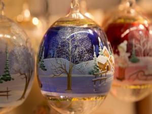 Postal: Bolas de Navidad de cristal
