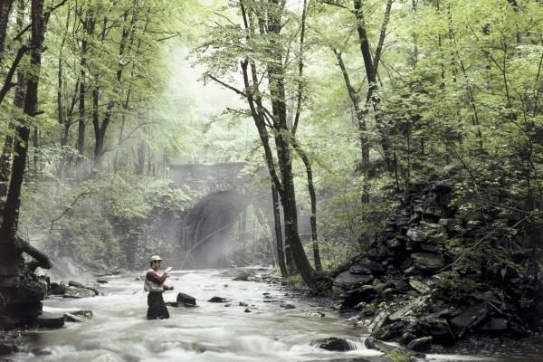 Pescador dentro del río