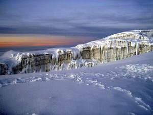 Campo de hielo en el Monte Kilimanjaro