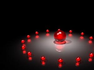 Postal: Bolas rojas formando un círculo