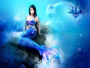 Postal: Sirena azul