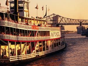 Postal: Barco de vapor Natchez por el Mississippi