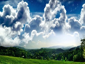 Postal: Estrellas en el cielo nuboso