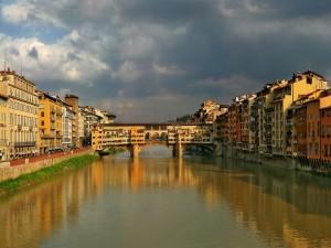 Postal: Ponte Vecchio y el río Arno, Florencia