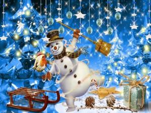 Un muñeco de nieve feliz en Navidad