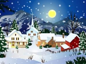 Postal: Noche navideña en un pueblito