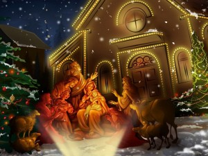 Un portal navideño con la sagrada familia