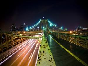 Postal: Carretera en el puente de Brooklyn