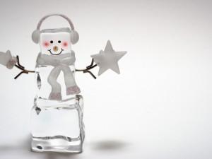 Postal: Muñeco de hielo escuchando música