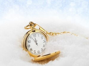 Postal: Reloj dorado