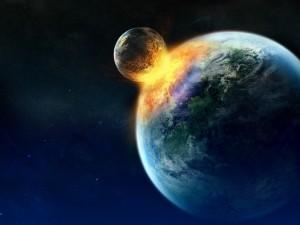 Postal: Colisión entre planetas