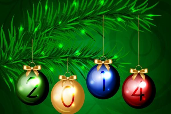 Feliz 2014 en bolas de Navidad