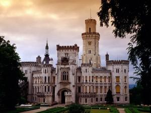 Postal: Jardines a la entrada del castillo