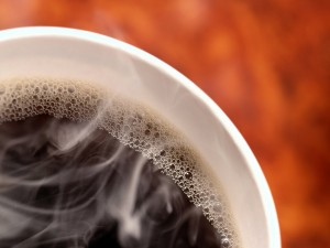 Postal: Taza caliente de café