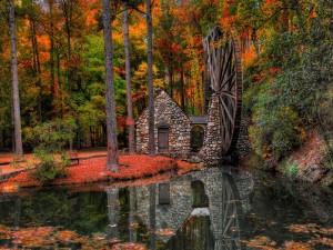 Postal: Casita con un molino de agua en el bosque