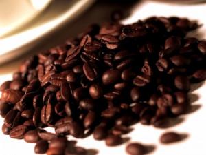 Postal: Montaña de granos de café