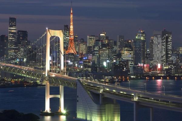 Vista nocturna de la ciudad y Torre de Tokio
