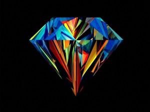 Postal: Diamante en fondo negro