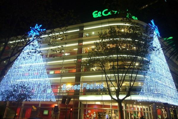 El Corte Inglés en Navidad (Diagonal 471, Barcelona, España)