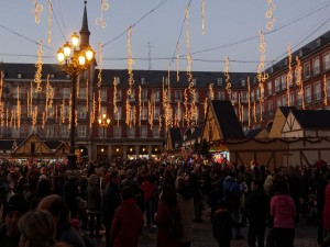 Postal: Mercado navideño en la Plaza Mayor, Madrid