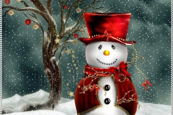 Un muñeco y un árbol de Navidad