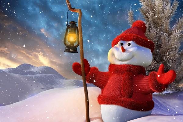 Muñeco de nieve esperando la Navidad