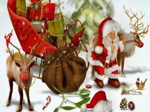 Postal: Papá Noel preparándose para repartir los regalos