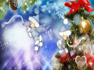 Duendes de Navidad pintando una imagen navideña
