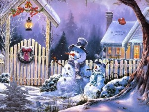 Postal: Los guardianes de la casa en Navidad