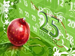 Postal: Almanaque marcando el día de Navidad