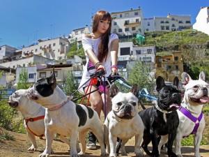 Postal: Mujer paseando perros