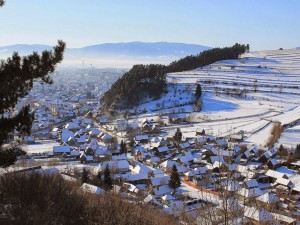 Postal: Casitas nevadas en Transilvania