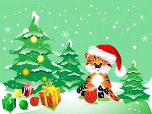 Ilustración para Navidad con un tigre, arbolito y regalos