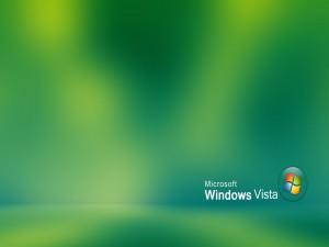 Microsoft Windows Vista en fondo verde