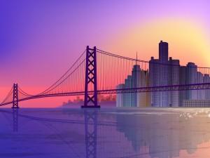 Un largo puente y rascacielos