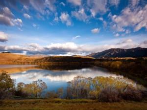Postal: Lago con hierba seca alrededor