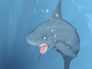 Postal: Tiburón enfadado