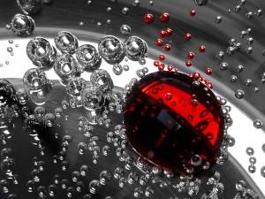 Burbujas rojas y transparentes