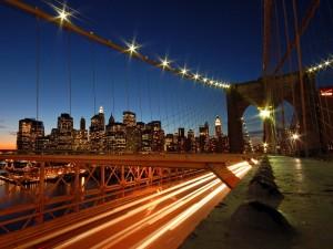 Postal: Luces en la carretera del puente