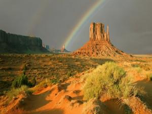 El arcoíris en un bello lugar
