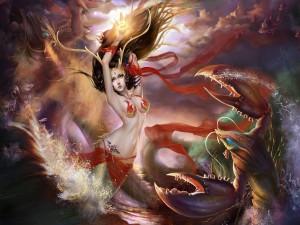 Postal: Sirena atacada por langostas gigantes