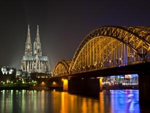 Postal: Puente y Catedral de Colonia, Alemania