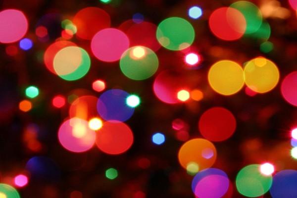 Destellos de las luces de Navidad