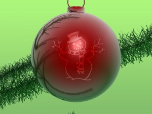 Postal: Bola de Navidad con un muñeco de nieve