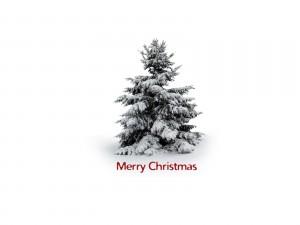 Felicitación de Navidad con un árbol y nieve