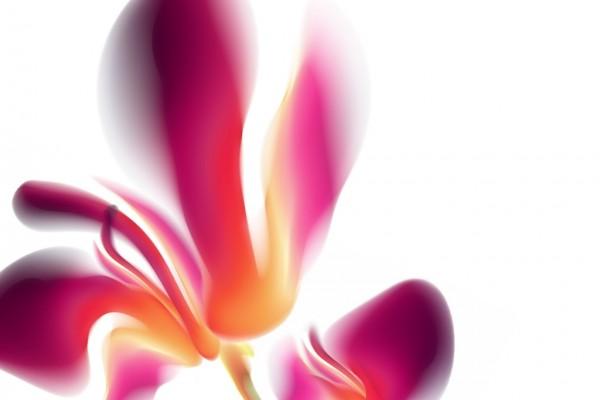 Flor digital con pétalos rosas